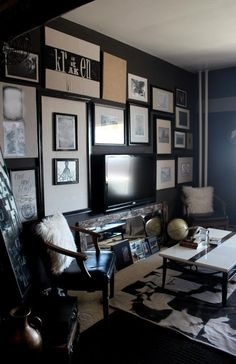 would use dark wall as an accent wall...especially the wall with the TV on it to enhance the ambiance of the film
