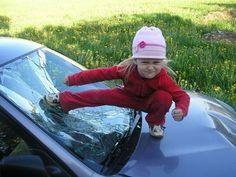 funny little blond girl kick