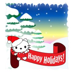 Free Hello Kitty Christmas Wallpaper | Hello Kitty Ipad Christmas wallpaper with snowy tree background ...