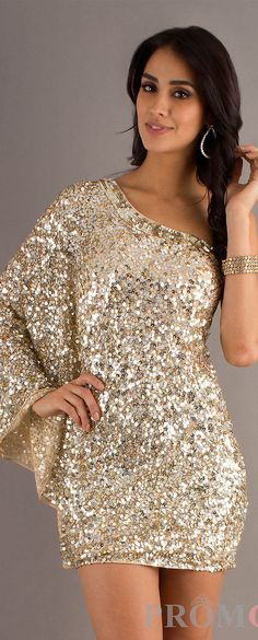 One shoulder gold sequin cocktail dress