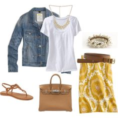 summer cute. love the jean jacket.