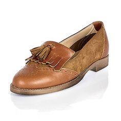 Mocassins en cuir marron à pampilles - Mocassins/petites chaussures - Chaussures/bottes - femme