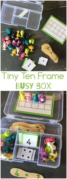 Tiny Ten Frame Busy Box, easy to put together and fun to play and learn too!