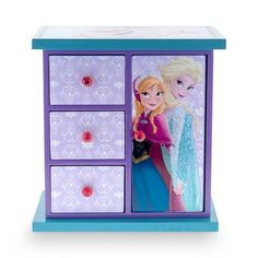 "(NEW) Disney ""FROZEN"" Elsa & Anna Armoire Jewelry Box for Girls, Purple/Blue #Disney"