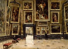 """Alexandre Brun (French, 1853 - 1941) """"View of the Salon Carré at the Louvre"""", c.1880 ~ oil on canvas"""