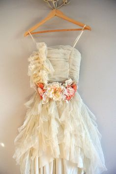 Tulle lace summer party dress, French shabby party dress, altered couture, romantic ruffle dress, True rebel clothing small on Etsy, $148.00