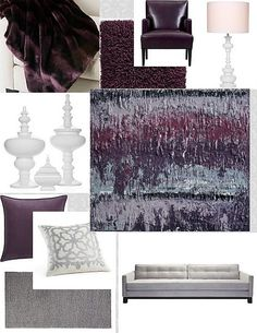 Purple Grey White Living Room
