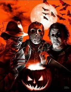 Trick 'r Treat! scary famous killers trio Halloween iPhone wallpaper background holiday Halloween art - lock screen