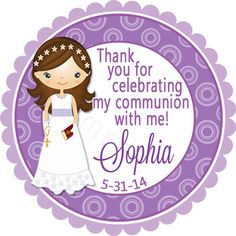 First Communion Personalized Stickers Party Favor por partyINK