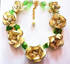 Pearlized Flower Leaves Gripoix by Augustine Large Necklace