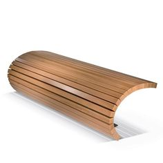 Contemporary public bench in wood and metal TSUMI