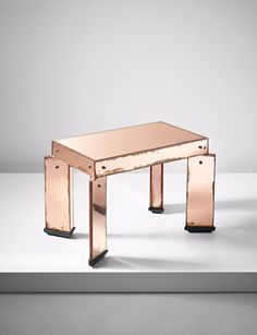 Gio Ponti; Mirrored Glass, Ebonized Wood and Nickel-Plated Metal Occasional Table for Luigi Fontana & Co., c1930.