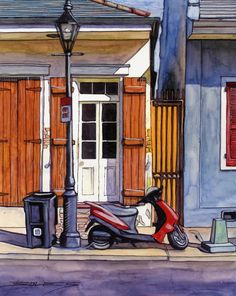 John Boles WATERCOLOR French Quarter House With Scooter Painting