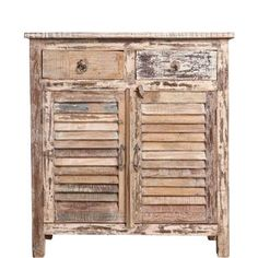 This chest of drawers from Butlers features rough surfaces and traces of old paint to give it a weathered rustic look