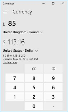 Screenshot Of Calculator Conversion Uk Pounds To Us Dollars In Windows 10