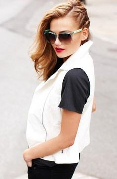 Dress up a black and white look with bright sunglasses.