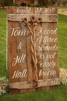 This is a rustic unity sign for a God centered wedding. Using the verse Eccl 4:12-A cord of the streams is not easily broken. The board is