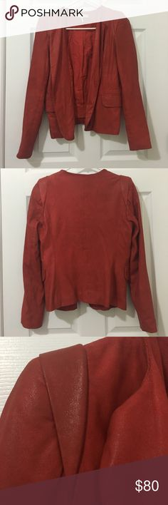 Sandro leather blazer jacket size 1 Used but great condition - slim fitting red leather blazer, very lightweight. Color is a rusty red. Sandro size 1 is equivalent to XS/2 Sandro Jackets & Coats Blazers