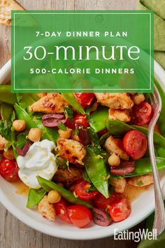 In this meal plan, healthy dinners make their way to the table in 30 minutes or less. The key to these quick dinners is the combination of fast recipes and simple sides, and relying. Lo Calorie Recipes, 500 Calorie Dinners, Dinners Under 500 Calories, Fast Recipes, Healthy Recipes, Healthy Meals, Diabetic Meals, 7 Day Meal Plan, Vegetarian Recipes Dinner