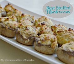 Best Stuffed Mushroom Recipe - mushrooms, olive oil, garlic, onion, cream cheese, parmesan, pepper, onion powder
