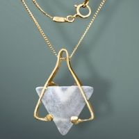 """The Star of David (Magen David or Shield of David) is a generally recognized symbol in Judaica jewelry. Custom-made with goldfilled and fused bright-magenda iridized glass, this modern artisan pendant will be a beautiful, meaningful present for a bar mitzva, bat mitzvah, birthday, or Jewish holiday, for you, a family member or a friend. A black leather cord 17"""" with goldfilled clasp is added. Every jewelry piece is delivered in gift packing.  Designed by Leah Gerber More judaica ..."""