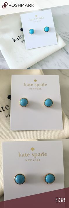 Turquoise Kate Spade Earrings Authentic, brand new, Kate Spade earrings. Comes with new style gift pouch!Genuine turquoise.   Bundle discount available!  🍍Suggested User! 🍍5 Star Rated Seller! 🍍Same or next day shipper! 🐶Pet friendly 🚬Smoke-free 🚫No trades ❌No half price offers kate spade Jewelry Earrings