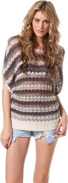 LAMADE TWO COLOR LOOSE KNIT STRIPE PONCHO on sale $42.99