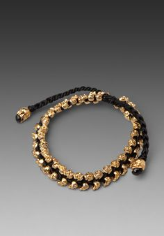 M.COHEN Double Layer Skulls Bracelet in Gold/Black at Revolve Clothing - Free Shipping!
