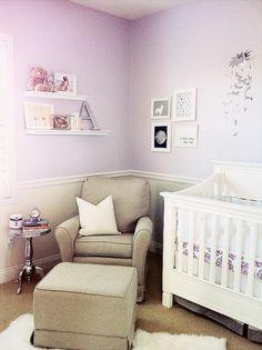 The HONEYBEE: Ava's Purple Nursery - simple, pretty nursery idea for girl - pretty lilac wall color