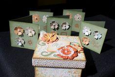 "Card Box (3""x3"") using CTMH Florentine Paper Pack and CTMH Cricut Art Philosophy cartridge."