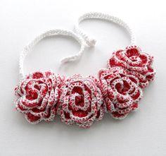 Crochet Necklace Choker Bracelet Hairband Red White Shabby Roses