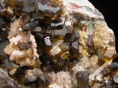 Detail of Siderite on Quartz pseudomorphs after Barite from Tincroft Mine, Illogan,  Cornwall, England