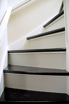 wallpaper for basement stairs-- use grommet border wall paper. Redo Stairs, Basement Stairs, Stair Redo, Interior Decorating, Basement Decorating, Interior Design, Wallpaper Stairs, Stairs To Heaven, Harbor House