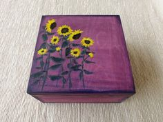 Wooden Tea box with Sunflowers, hand-painted custom floral box for Tea lover, wood trinket Purple chest storage Tea bags jewelry Wooden Flower Boxes, Wooden Tea Box, Painted Wooden Boxes, Hand Painted, Diy Trinket Box, Tea Storage, Cigar Boxes, Sunflowers, Decoupage
