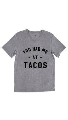 You Had Me At Tacos Tri-Blend Gray Unisex V-Neck Tee | Sarcastic Me – Sarcastic ME