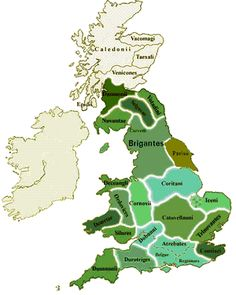 Celtic Tribes of Britain. Britain about the year 10 CE, showing the Brythonic tribes in green.