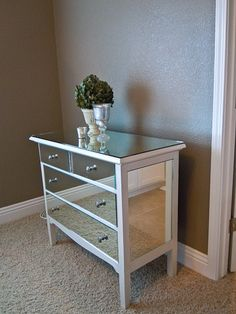 Mirrored Dresser DIY - Mirrored furniture is so trendy right now, and this great post shows you how to create this look yourself! With this tutorial you'll create a stylish mirrored dresser for much less than just going out and buying one. A great piece Diy Mirrored Furniture, Furniture Makeover, Painted Furniture, Dresser Makeovers, Refurbished Furniture, Furniture Projects, Home Projects, Diy Furniture, Dresser Furniture