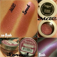 MAC Cranberry Frost vs Loreal Glistening Garnet eyeshadow Eyeshadow Dupes, Drugstore Makeup Dupes, Beauty Dupes, Makeup Swatches, Beauty Makeup, Expensive Makeup, Make Up Dupes, High End Makeup, Makeup Techniques