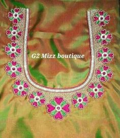 Discover thousands of images about 20 Maggam Work Designs For Blouses To Inspire You Peacock Blouse Designs, Simple Blouse Designs, Fancy Blouse Designs, Bridal Blouse Designs, Traditional Blouse Designs, South Indian Blouse Designs, Embroidery Neck Designs, Aari Embroidery, Mirror Work Saree Blouse