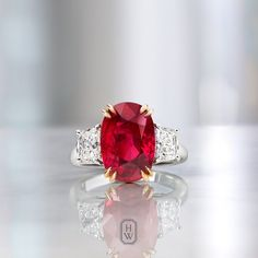 Harry Winston ~ Ruby and Diamond Ring Colored Engagement Rings, Antique Engagement Rings, Diamond Engagement Rings, Ruby Jewelry, Diamond Jewelry, Gemstone Jewelry, Jewlery, Harry Winston, Antique Diamond Rings