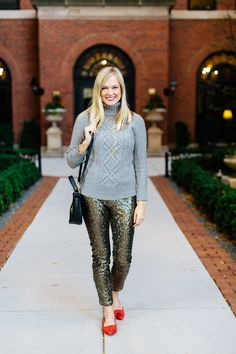 How to style gold sequin pants for the holidays | Charmingly Styled