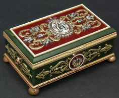Fine Russian Imperial hand crafted nephrite jade and gold hinged box. Jeweled throughout with diamonds and ruby with crown, monogram and floral scroll work. Guilloche enamel design throughout cover.
