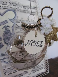 Shabby Vintage Sheet Music Christmas Ornaments