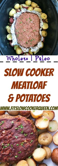 meatloaf (paleo option too) and potatoes recipe is made in the slow cooker for an easy meal the entire family will enjoy.This meatloaf (paleo option too) and potatoes recipe is made in the slow cooker for an easy meal the entire family will enjoy. Crock Pot Recipes, Slow Cooker Recipes, Paleo Recipes, Free Recipes, Crock Pots, Paleo Food, Whole30 Meatloaf, Slow Cooker Meatloaf, Meatloaf Recipes