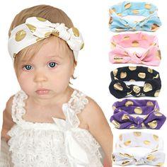 1 unids oro lunares bebés del algodón venda de las muchachas anudado arco cabeza envuelve verano cintas para el pelo venda del bebé embroma los accesorios del pelo