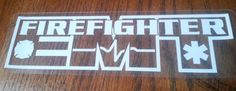 "Firefighter EMT Clear Static Window Clings, Star of Life, EMS 6.25""x 1.75"" #FD20"