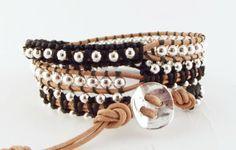 Wikkelarmbanden - Trendy leren triple wrap armband neon zwart/zilver - Een uniek product van Unycq op DaWanda