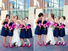 bridesmaids with a darker / neutral gown and a pop of color with bouquets and shoes.