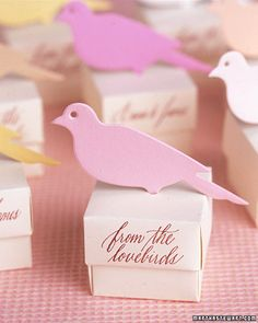 "Adorable ""from the lovebirds"" wedding favors"