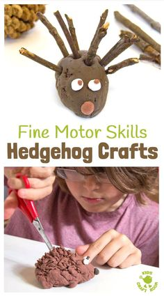 HEDGEHOG CRAFTS TO BUILD FINE MOOR SKILLS - fun Autumn / Fall crafts for kids that develop fine motor skills and encourage a love of Nature. Make a Cute Hedgehog Family - A fun Autumn craft for kids and a great way to develop fine motor skills.